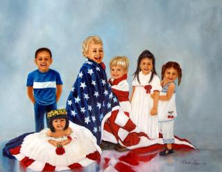 six children wrapped in the american flag